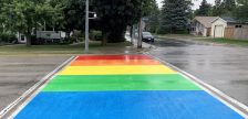 The Rainbow Crosswalk on Gustavus Street in Port Elgin. Photo courtesy of Saugeen Shores.