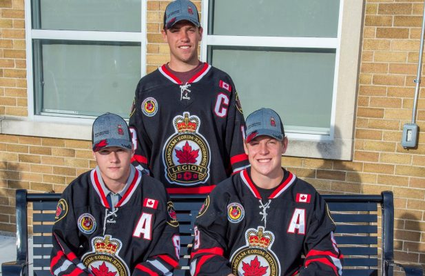 (From left to right) Carson Peer, Joey Ferrera and Ryan Barwitzki outside Sarnia Arena. July 2020. (Photo by Shawna Lavoie Photography)