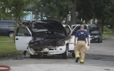 Sarnia Fire Rescue and Sarnia Police Service respond to a truck fire off Campbell Street. 4 August 2020. (BlackburnNews.com photo by Colin Gowdy)