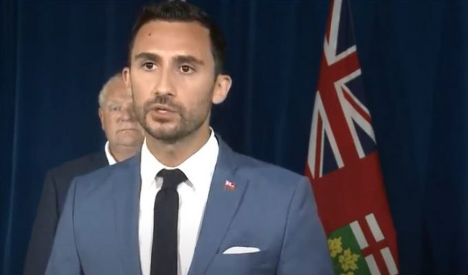 Ontario Education Minister Stephen Lecce, August 7, 2020. (Photo taken from YouTube.)