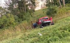 A pickup truck rests in the ditch along Highway 401 between Currie and Iona roads following a three-vehicle crash, September 11, 2020. Photo courtesy of Joseph Robinson.