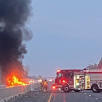 A vehicle fire in the eastbound lanes of Hwy. 401 west of London, September 24, 2020. Photo courtesy of Middlesex OPP.
