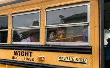 Students head back to school on the bus. September 2020. Blackburn News File Photo.