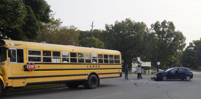 The scene of a collision between a vehicle and a school bus on Murphy Road. (BlackburnNews.com photo by Colin Gowdy)