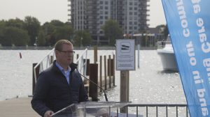 Mark Fisher, President and CEO, Council of the Great Lakes Region, at Sarnia Bay Marina. 16 September 2020. (BlackburnNews.com by Colin Gowdy)