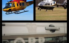 Three panes showing a red and yellow Joint Rescue helicopter; an OPP helicopter; and across the bottom, a close-up of the door of an OPP cruiser.