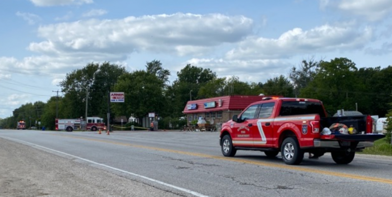 First responders attend a gas leak near the intersection of Essex County Roads 20 and 23 in Kingsville. 13 September 2020. (Photo courtesy of OPP)