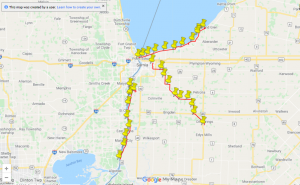 The Wright family's journey across Sarnia-Lambton, in support of the Kidney Foundation of Canada. September 2020. (Photo from Google Maps)