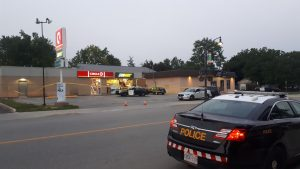 Lambton OPP investigate a robbery in Petrolia. 15 September 2020. (BlackburnNews.com photo by Colin Gowdy)