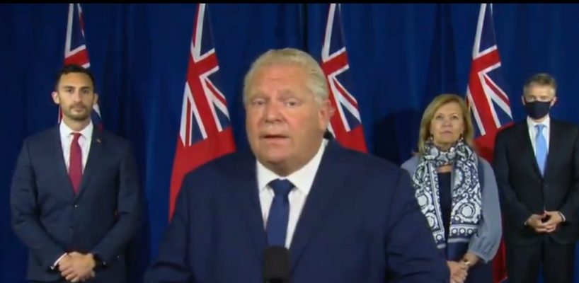 Premier Doug Ford speaks to the media at Queens Park in Toronto, accompanied by Education Minister Stephen Lecce, Health Minister Christine Elliott, and Finance Minister Rod Phillips, September 14, 2020. Image courtesy CPAC/YouTube.