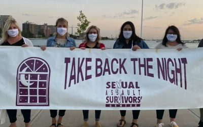 Members of the Sexual Assault Survivors' Centre Sarnia Lambton promoting the Take Back the Night rally. September 2020. (Photo from Facebook)