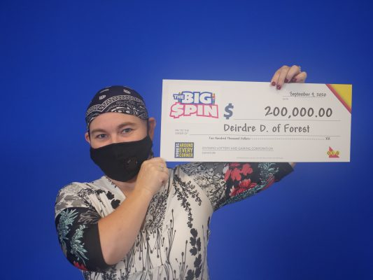 Deirdre Degroot of Forest claims $200,000 prize in the OLG's The Big Spin game. September, 2020 Submitted photo.