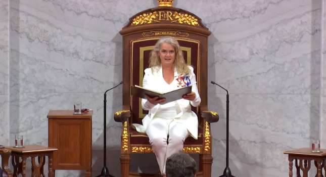 Governor General of Canada Julie Payette delivers the speech from the throne on September 23, 2020 (Screengrab via Government of Canada website)