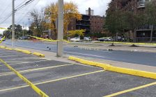 The scene of a collision involving a pedestrian, October 15, 2020. (Photo by Mark Brown)