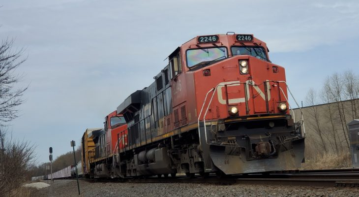 A CN Rail train in Wisconsin. 11 April 2020. (Photo by Carson Russell)