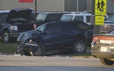 Sarnia Police attend a collision on Indian Road. 1 October 2020. (BlackburnNews.com photo)