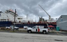 Belfor Property Restoration vehicles parked outside the Damia Desgagnes tanker at Sarnia Harbour. October 2, 2020. (BlackburnNews.com photo by Melanie Irwin)