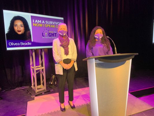 London Abused Women's Centre Executive Director Megan Walker stands with 2020 Shine the Light campaign honouree Olivea Beadle. Photo provided by the London Abused Women's Centre.