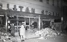 The damaged exterior of the Metropolitan Store on Ouellette Avenue in Windsor is seen on October 25, 1960. Photo courtesy Southwestern Ontario Digital Archive/University of Windsor.