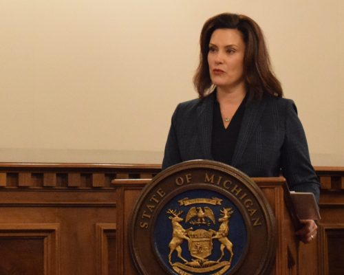 Michigan Governor Gretchen Whitmer speaks at a National Guard event in Lansing, January 1, 2019. Photo by 1st Lt. Andrew Layton, U.S. Air National Guard/Public Domain