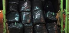 Border officers seized over 1,000 pounds of marijuana from garbage bags in the back of a garbage truck at the Blue Water Bridge in Port Huron, October 18, 2020. (Photo courtesy of the U.S. Customs and Border Protection)