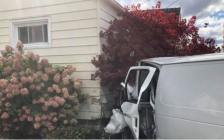 Vehicle hits house in Point Edward Oct. 2, 2020 (Photo via Point Edward Fire & Rescue Facebook page)