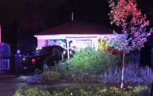 A vehicle crashed into a home on Elliott Street, October 19, 2020. Photo courtesy of the London Fire Department.