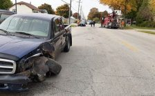 Emergency crews respond to a head-on collision on Campbell Street near Kirby Street in Sarnia, October 14, 2020. (Photo courtesy of the Sarnia Police Service)
