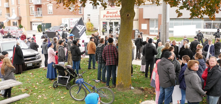 Participants at a 'freedom rally' in Aylmer, October 24, 2020. Photo from Kimberly Neudorf on Facebook.