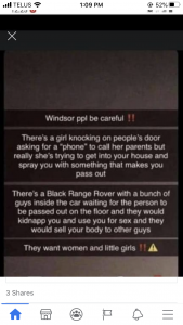 Social media post debunked by Windsor Police Service,, October 2020.