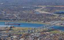 Aerial view of the Blue Water Bridge/St. Clair River (BlackburnNews.com photo by Dave Dentinger)