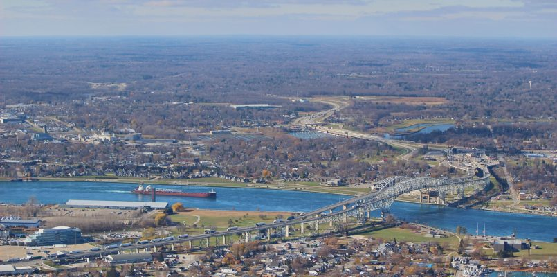 An aerial view of the Blue Water Bridge taken during a 403 Honour Flight on Remembrance Day. Nov. 11, 2020 (BlackburnNews.com photo by Dave Dentinger)