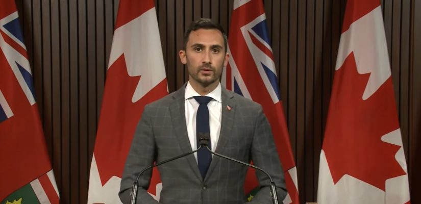 Ontario Education Minister Stephen Lecce. November 2020. (Screenshot of video by Ontario Parliament)