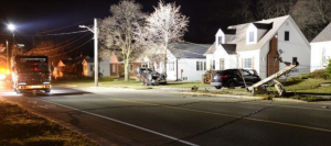 First responders called to a single-vehicle crash Maxwell Street and Capel Street. November 19/20, 2020. (Photo by Sarnia Police Service)