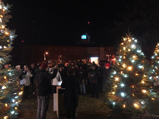 Members of the community assemble for the annual Christmas Wish Tree lighting ceremony on December 16, 2019 at the Chatham-Kent Health Alliance Wallaceburg Site. (Submitted photo)