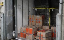 Boxes containing around 450 pounds of marijuana seized at the Fort Street Cargo Facility in Detroit. (Photo courtesy of U.S. Customs and Border Protection)