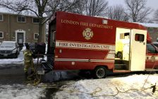Firefighters respond to a townhouse fire on Southdale Road West in London, December 1, 2020. (Photo courtesy of the London Fire Department via Twitter)