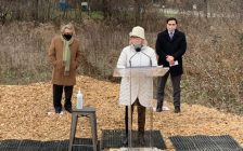 Mayor Ed Holder, London West MP Kate Young, and London North Centre MP Peter Fragiskatos at an affordable housing funding announcement. December 16, 2021. Photo courtesy of Kate Young.