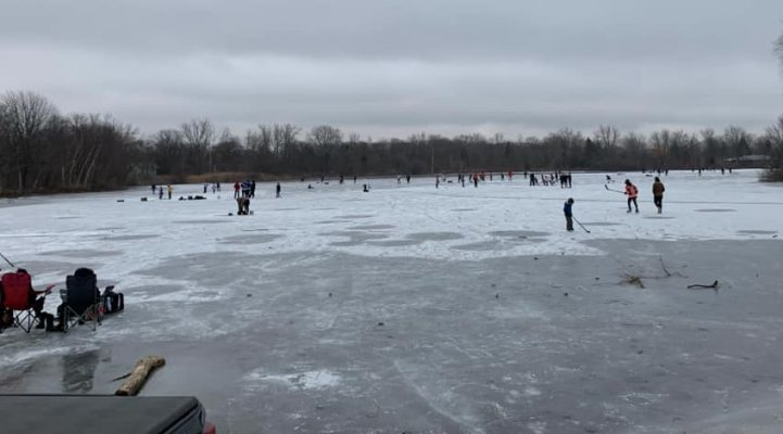 People skating on Lake Chipican at Canatara Park in Sarnia. January 12, 2021 Photo courtesy of Sarnia Fire and Rescue Services.