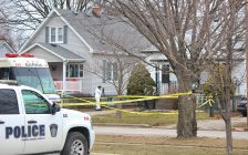 Police investigate a homicide at a home in the 200 block of Essex Street January 24, 2021 (BlackburnNews.com photo by Dave Dentinger)