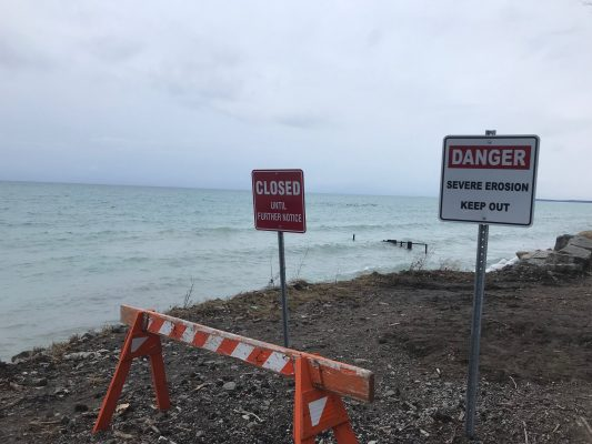 An area of the Lake Huron shoreline in Bright's Grove closed off due to erosion concerns. January 2021. (BlackburnNews.com file photo)