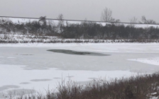 A bystander rescued a man who had fallen through the ice on this pond in northwest London, January 24, 2021. Photo courtesy of the London Fire Department.