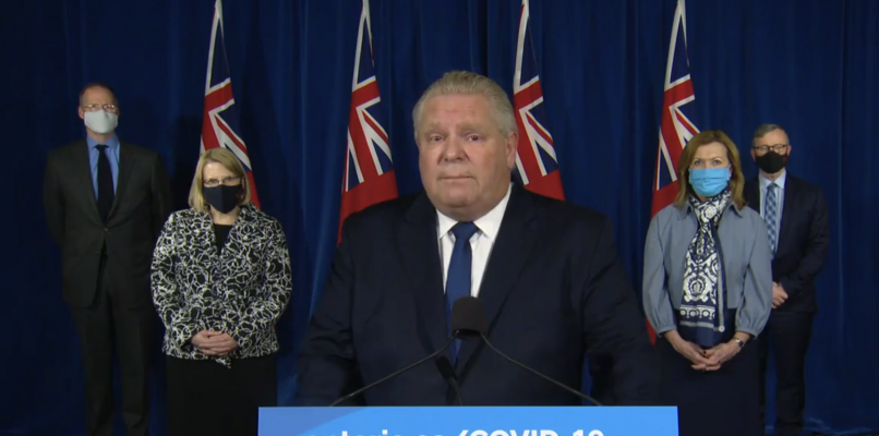 Premier Doug Ford addresses the media at Queens Park in Toronto, January 12, 2021. Image courtesy CPAC.