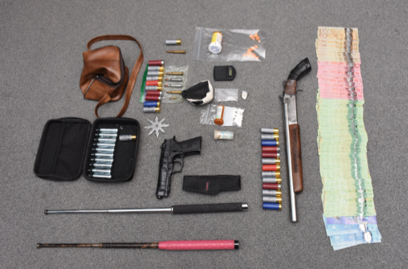 Weapons and drugs seized during a police raid at a home on Head Street North. Photo courtesy of Strathroy Caradoc police.