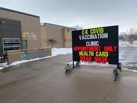 Chatham Mass Vaccination Clinic at the John D. Bradley Centre on February 22, 2021 (Photo by Allanah Wills)