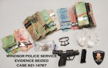 Evidence seized in a raid on Bridge Avenue in Windsor, February 22, 2021. Photo provided by Windsor Police Service.