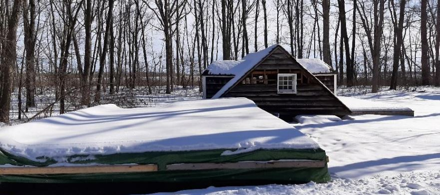Roof and floors of historic Canatara Log Cabin on-site for rebuild at Lambton Heritage Museum. (Photo via County of Lambton website)
