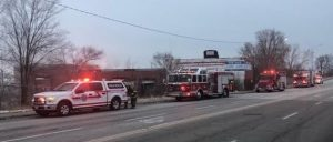 Firefighters at former Holmes Foundry site Feb 1, 2021 (Photo courtesy of Greg Grimes)