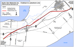 The route of the new Chatham to Lakeshore Transmission Line. (courtesy of Hydro One)