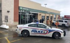 Emergency crews on the scene of a vehicle crash at the TD on 3030 Colonel Talbot Road. (Photo courtesy of London Fire Department.)